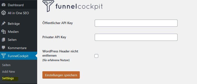 FunnelCockpit WordPress Settings